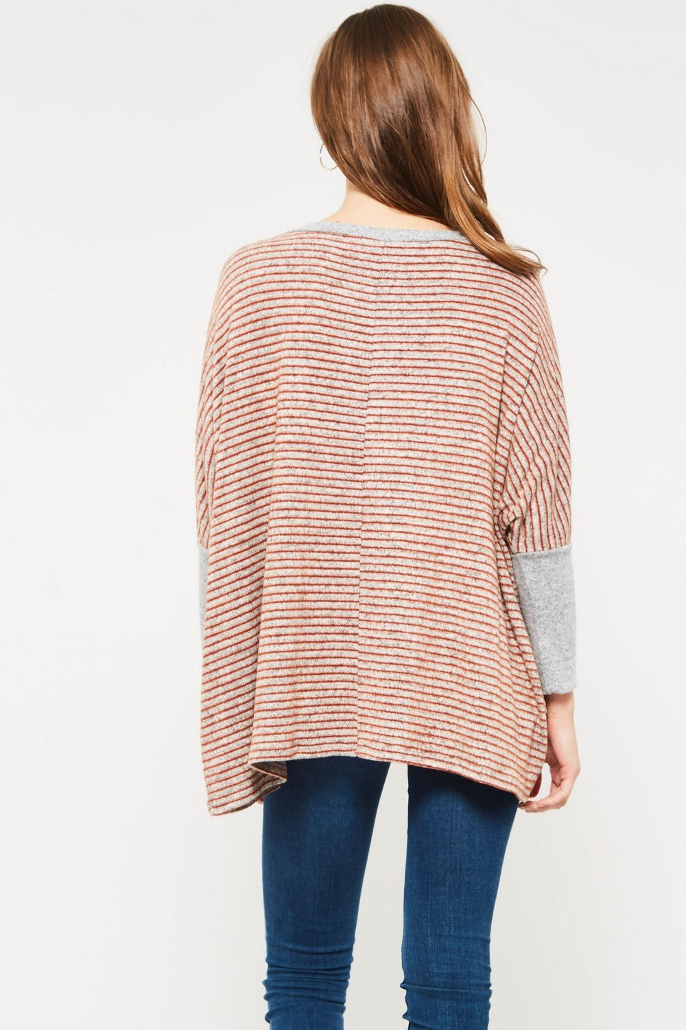 Rust Striped Blush Pullover