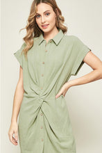 Load image into Gallery viewer, Button Up Knotted Linen Dress