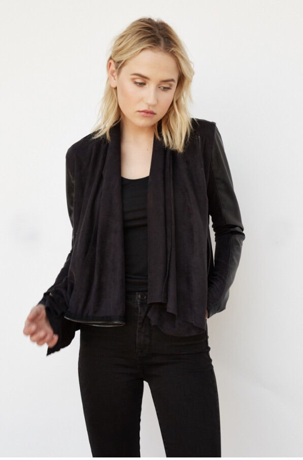 Faux Leather Front Drape Jacket