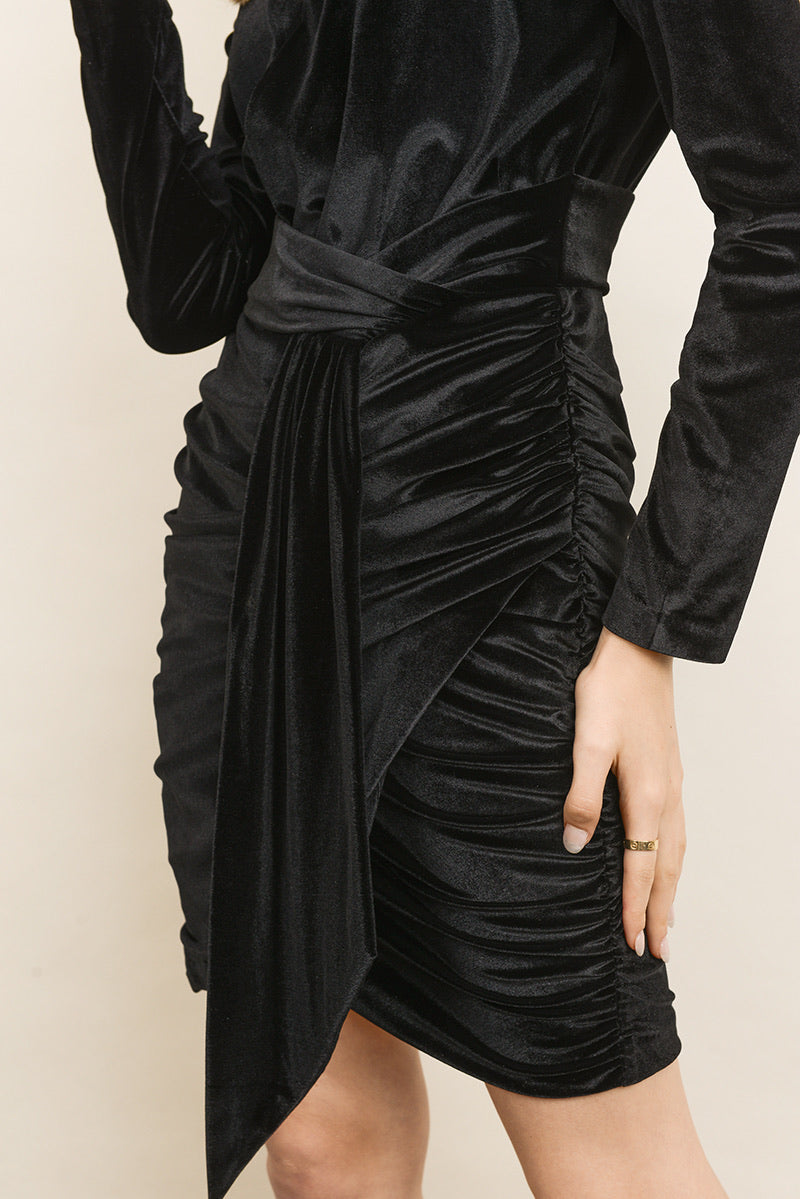 Velvet Sash Front Ruched Dress