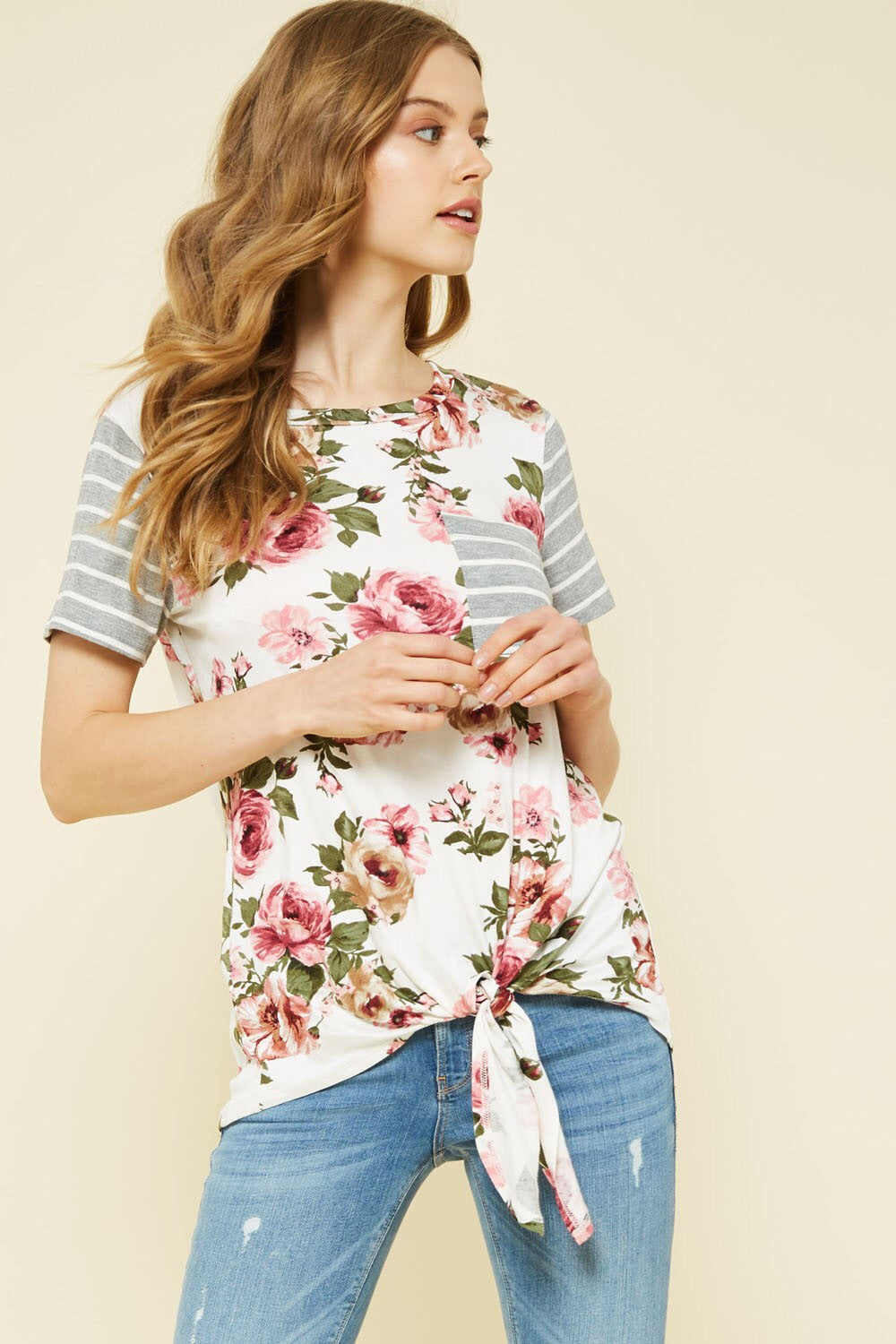 Floral Stripe Tie Knit Top