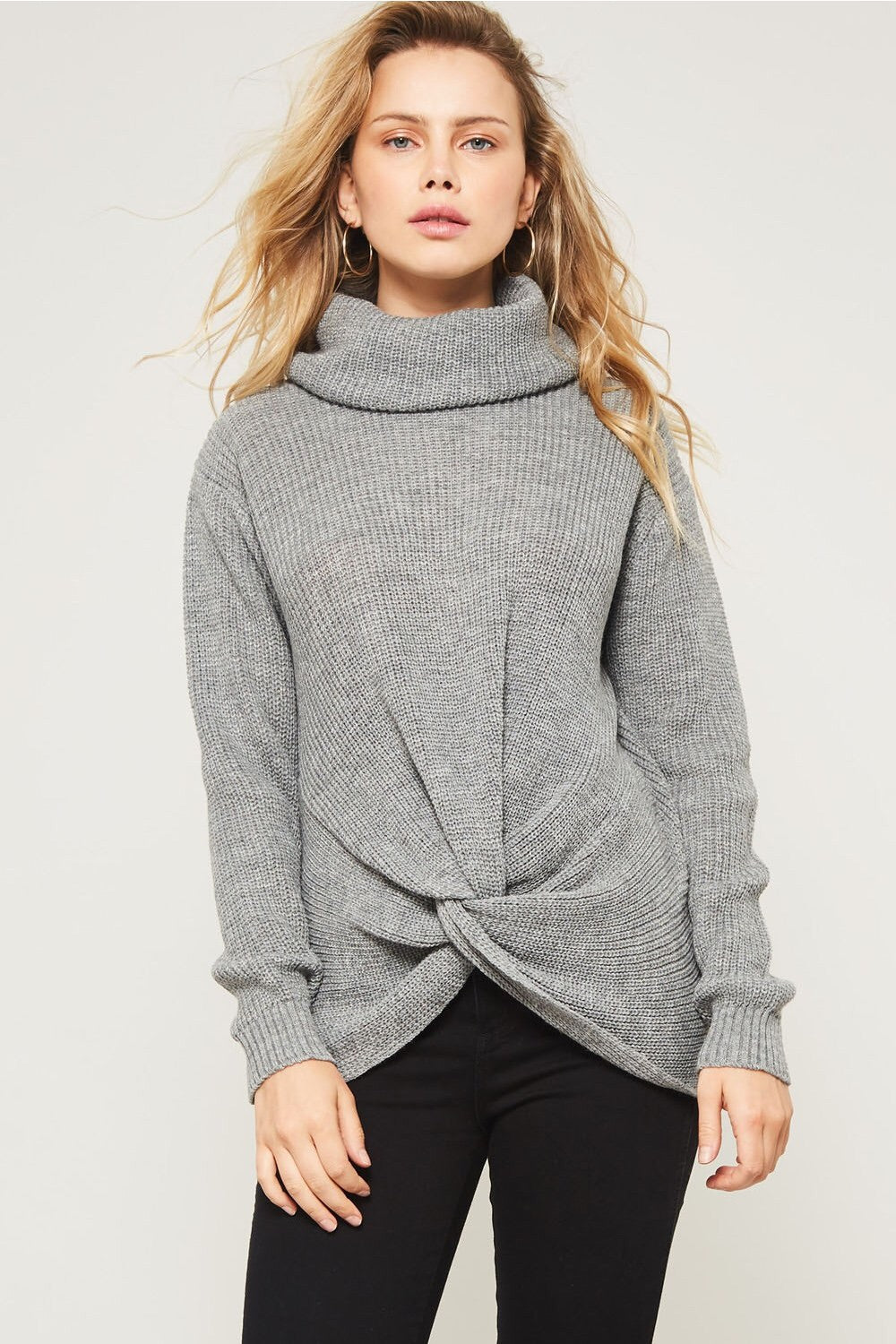 Cable Knit Front Knot Sweater