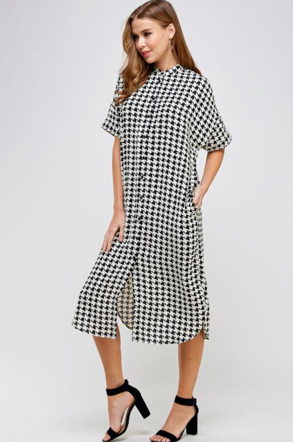 Houndstooth Button Up Shirt Dress