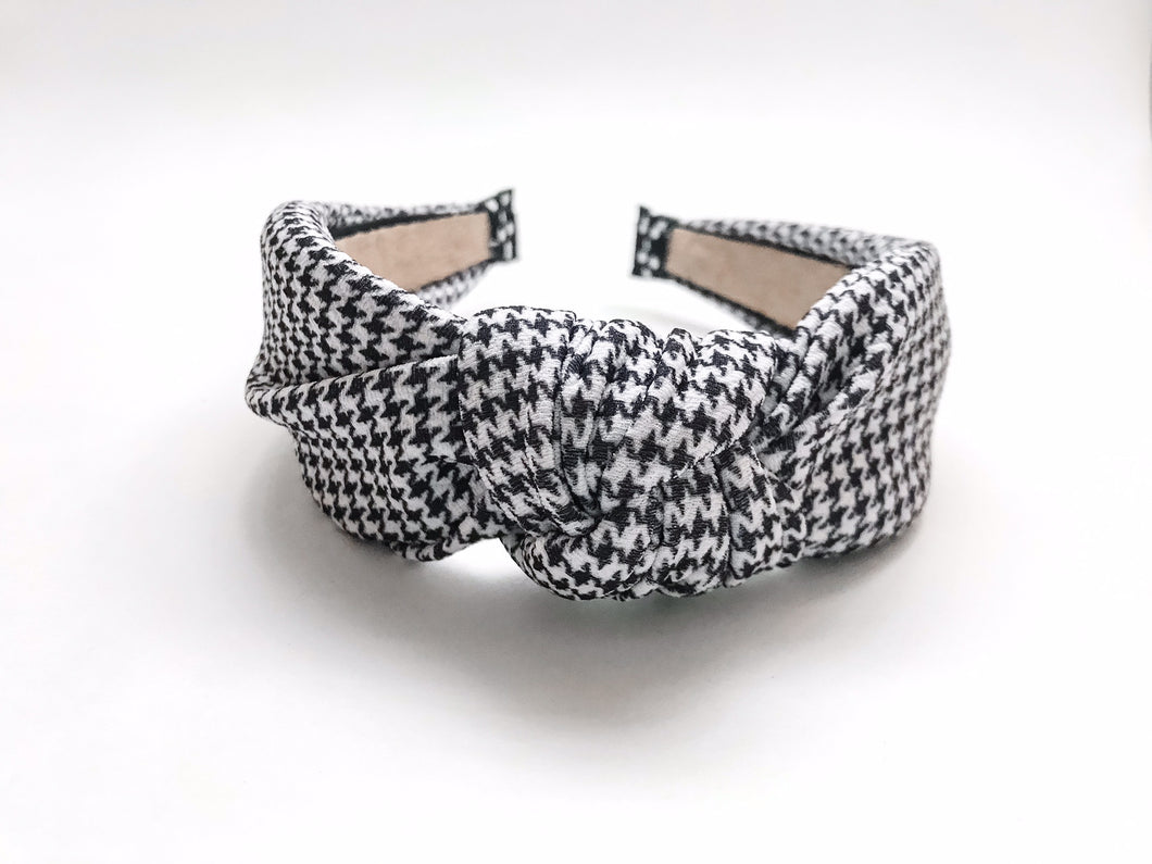 Small Houndstooth Knotted Headband