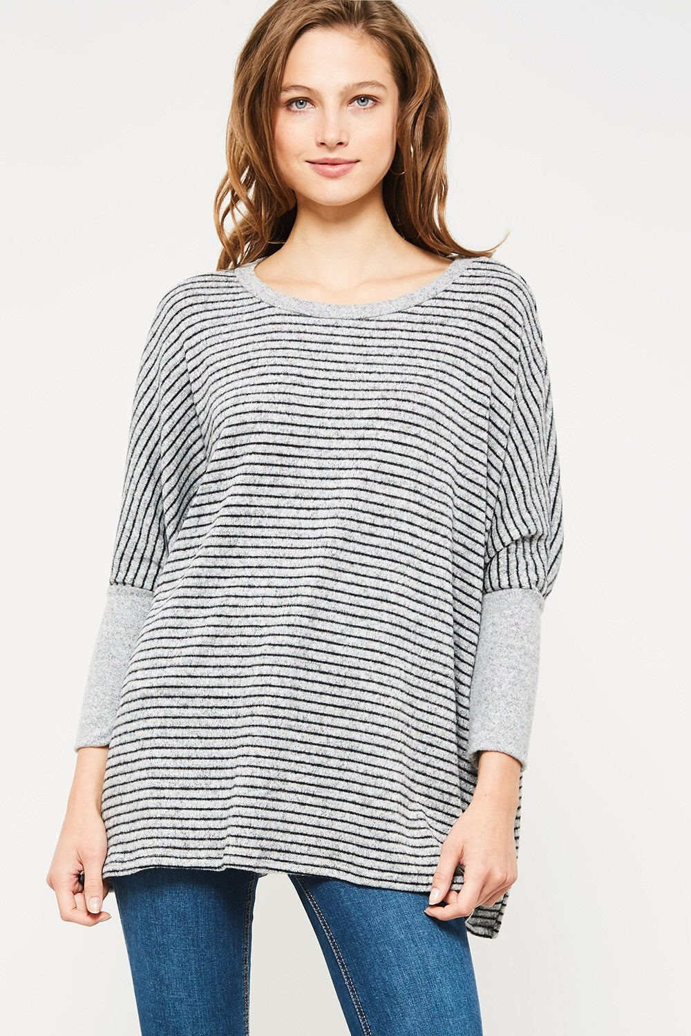 Black/Grey Striped Blush Pullover