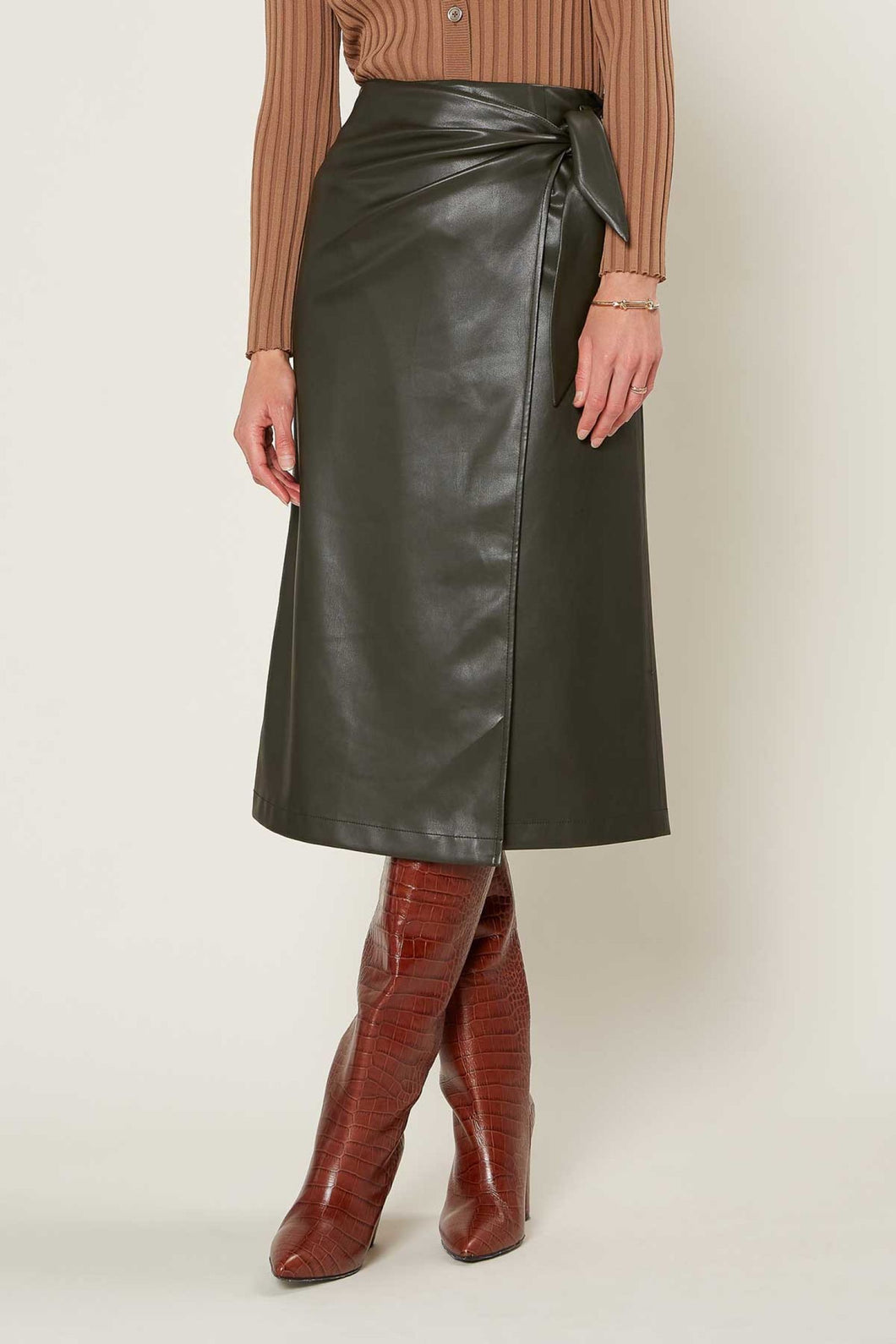 Midi Faux Leather Tied Wrap Skirt