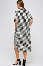Load image into Gallery viewer, Houndstooth Button Up Shirt Dress