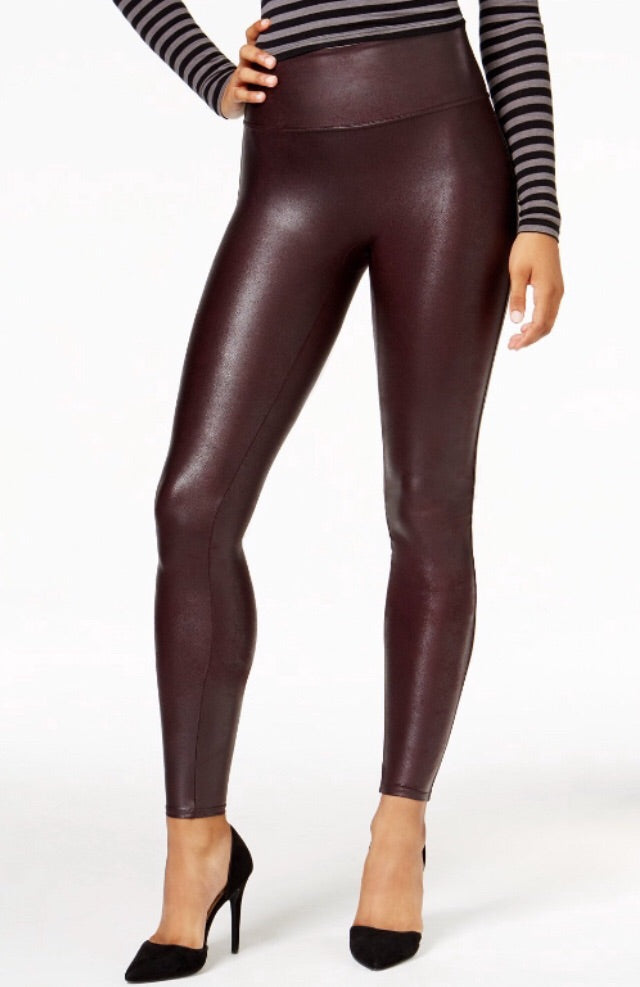 Burgundy Faux Leather Leggings