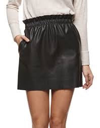 FAUX LEATHER SKIRT W/POCKETS