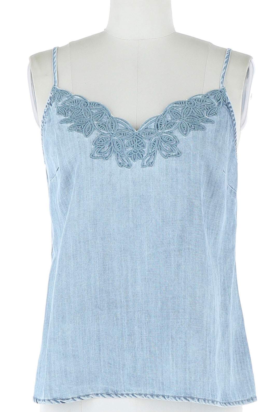 Embroidered Chambray Tank