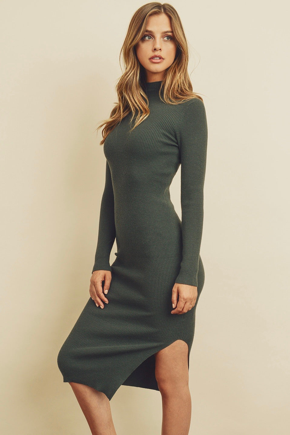 Ribbed Knit Mock Neck Sweater Dress