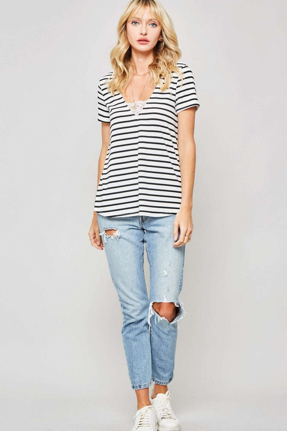 Lace Trim Striped Knit Tee