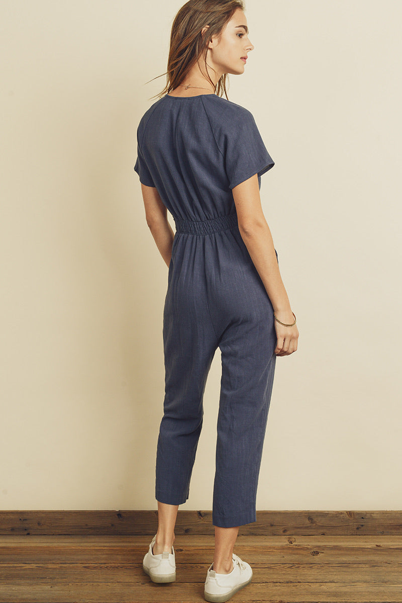 Linen Surplice Tucked Jumpsuit