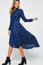Load image into Gallery viewer, Button Up Asymmetrical Plaid Dress