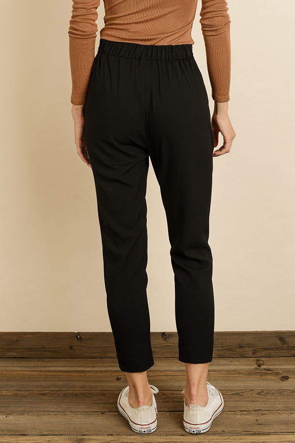 Solid Slim Cigarette Trousers
