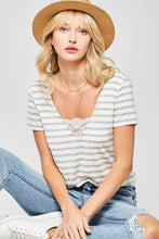 Load image into Gallery viewer, Lace Trim Striped Tee