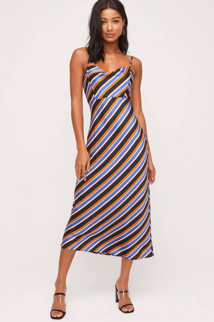 Stripe Satin Cami Dress