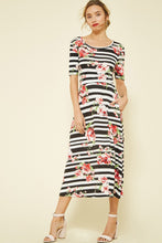 Load image into Gallery viewer, Floral Print Midi Dress with Pockets