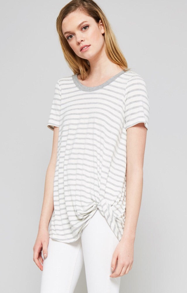 Grey Stripe Knit Knotted Tee