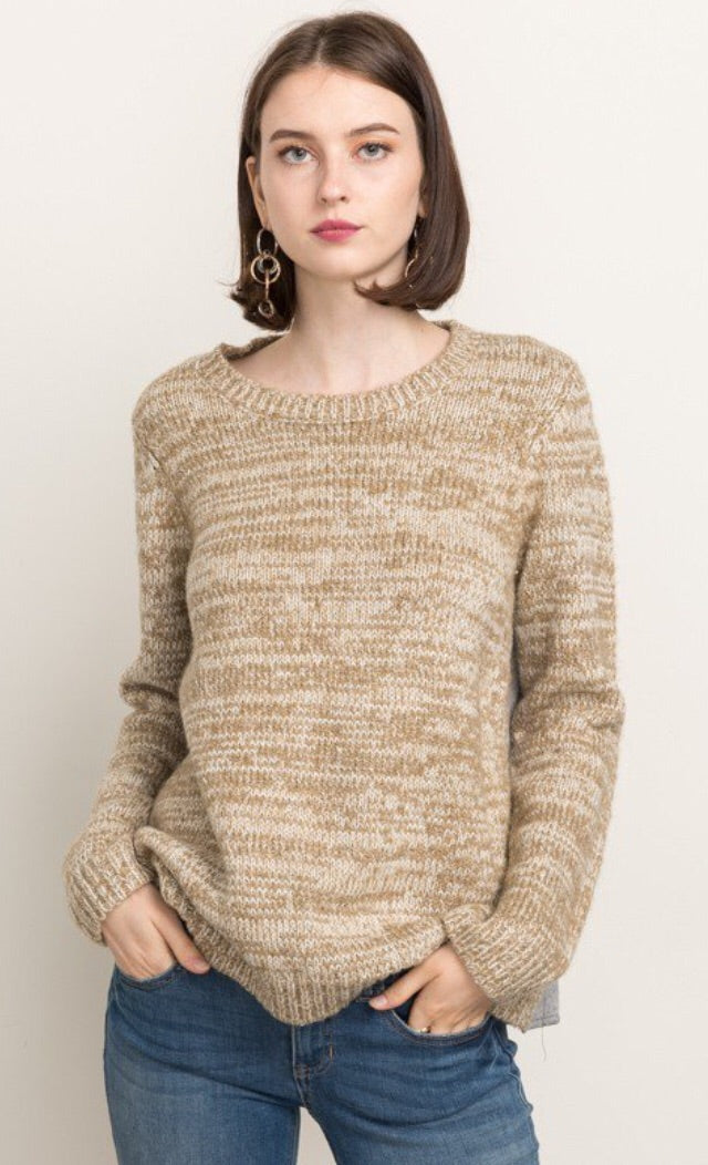 Crewneck Sweater with Back Woven Detail