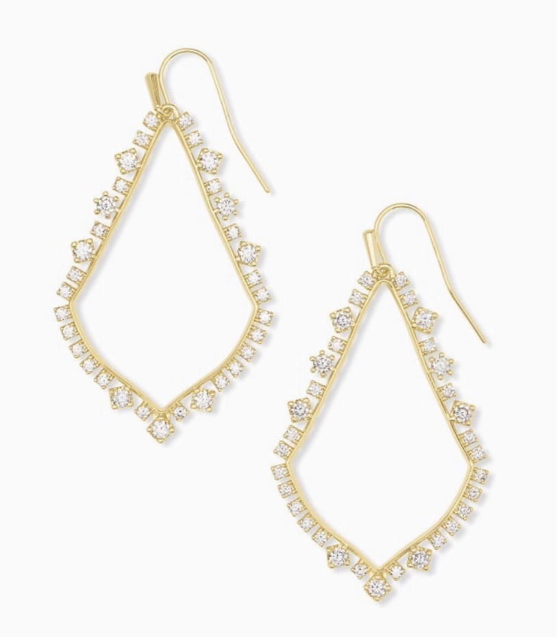 Sophee Crystal Drop Earrings Gold