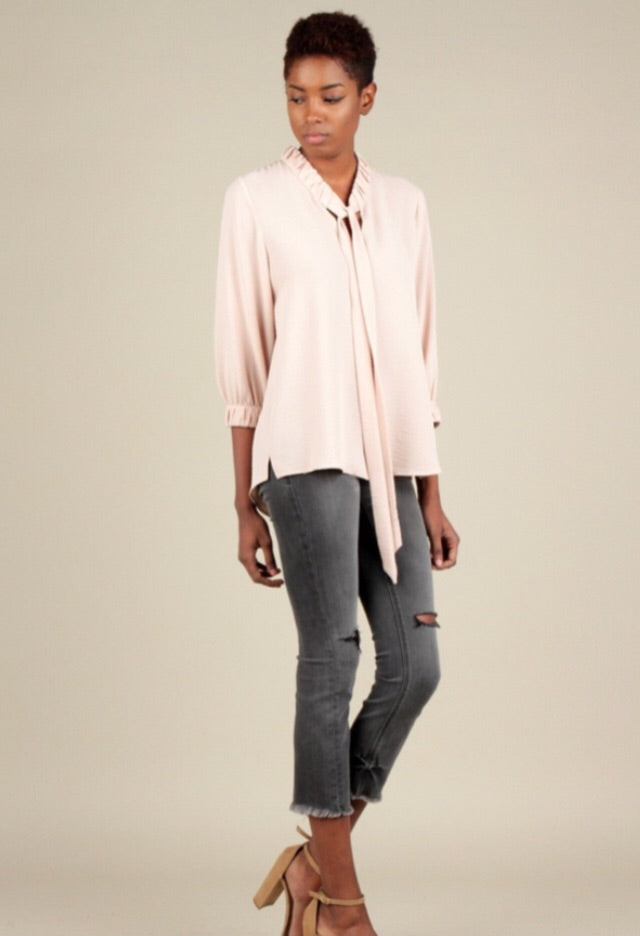 Shirred Neck and Sleeve Blouse