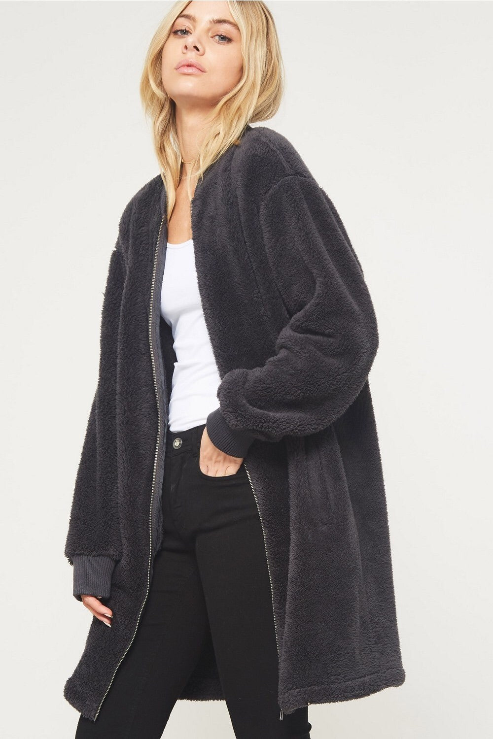 Faux Fur Zipper Coat