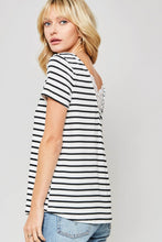 Load image into Gallery viewer, Lace Trim Striped Knit Tee