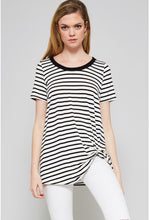 Load image into Gallery viewer, Black Stripe Knit Knotted Tee