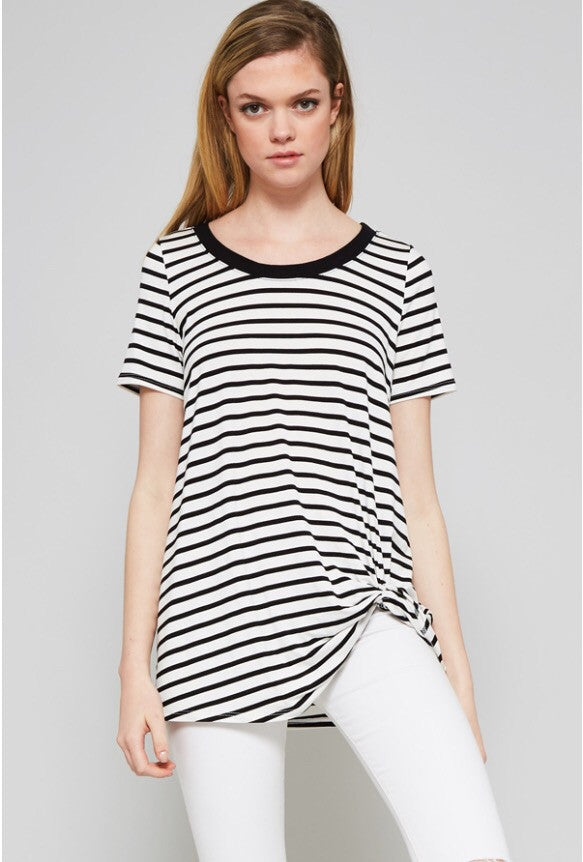 Black Stripe Knit Knotted Tee