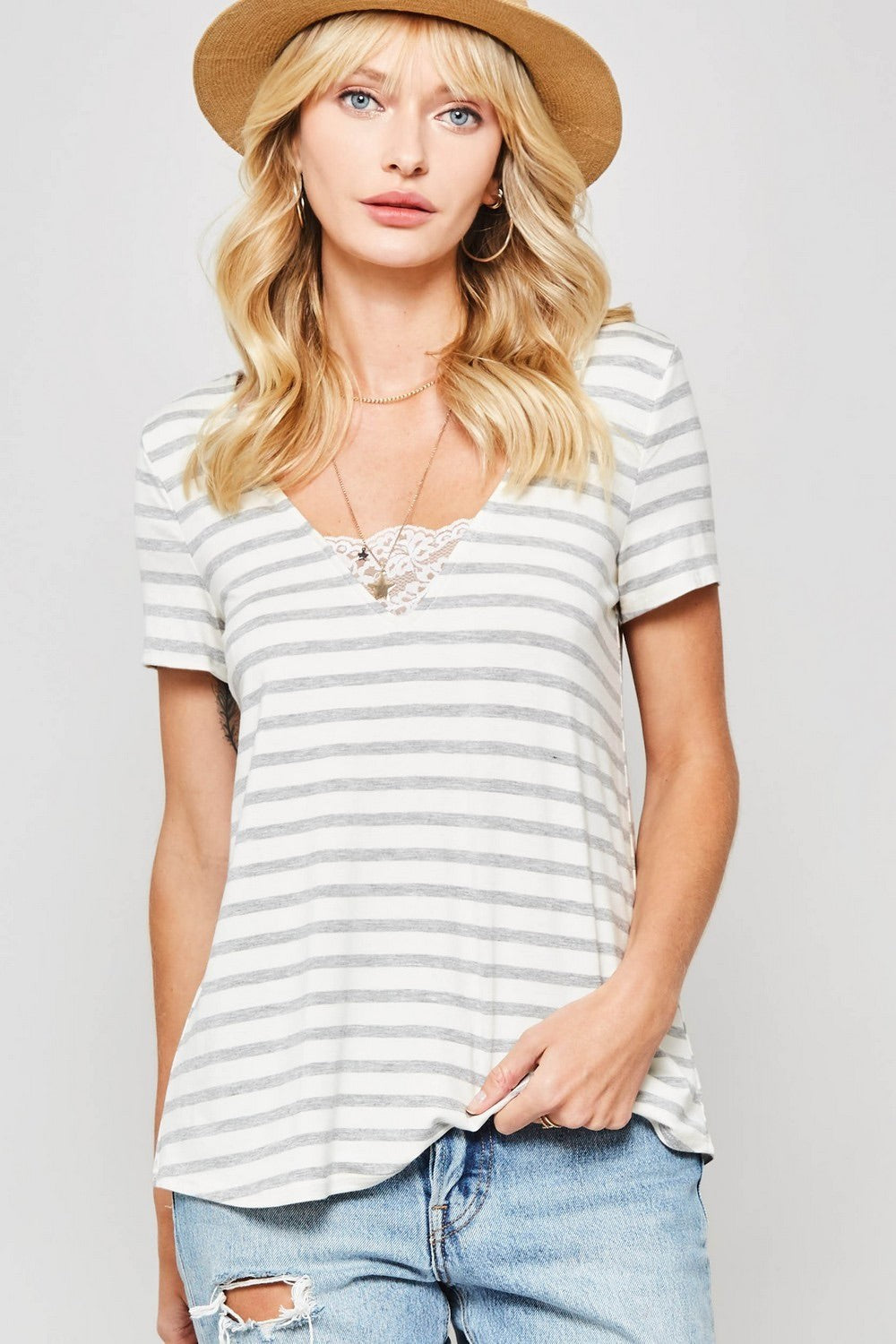 Lace Trim Striped Tee