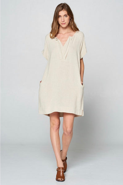 Oatmeal Pleated Neck Tunic Dress