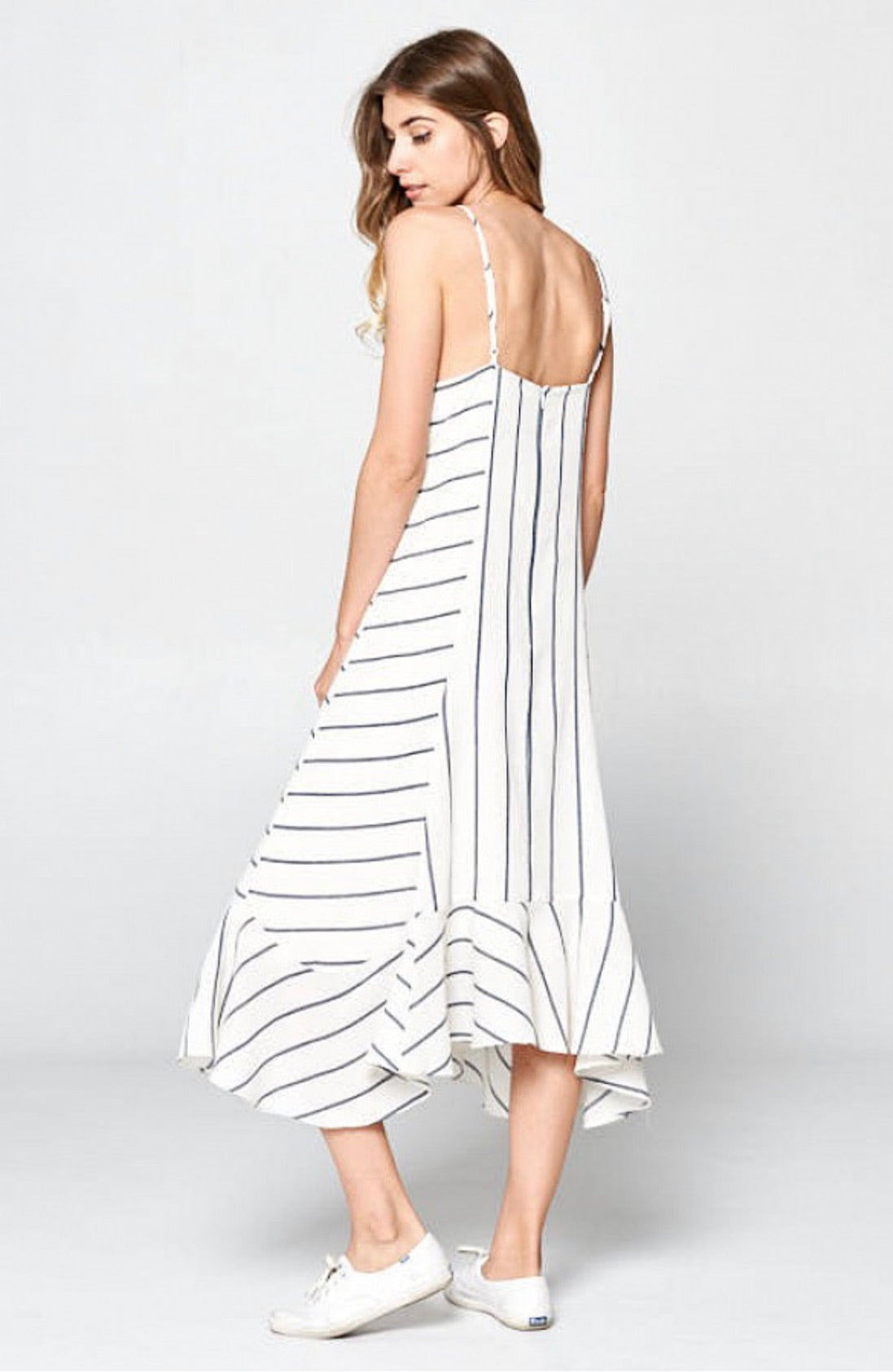 Direction Striped Ruffle Bottom Dress