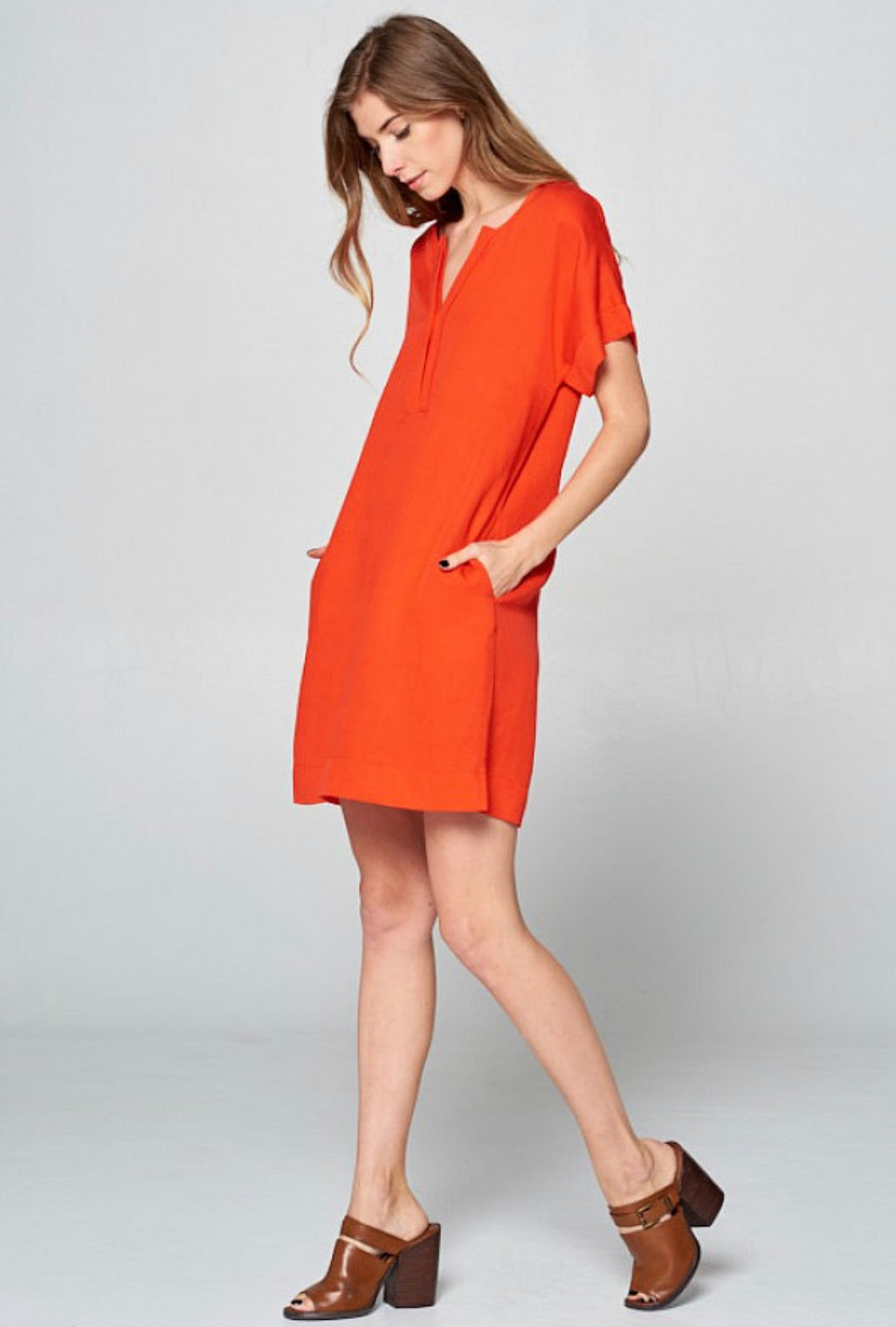 Red Pleated Neck Tunic Dress