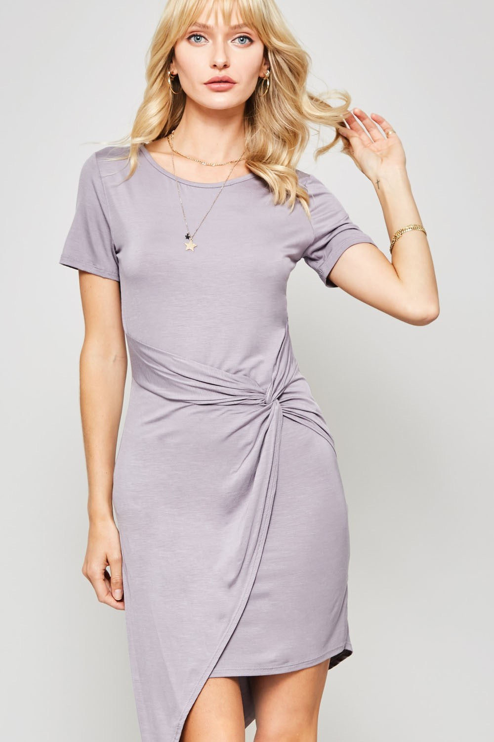 SIDE KNOT ASYMMETRICAL KNIT DRESS
