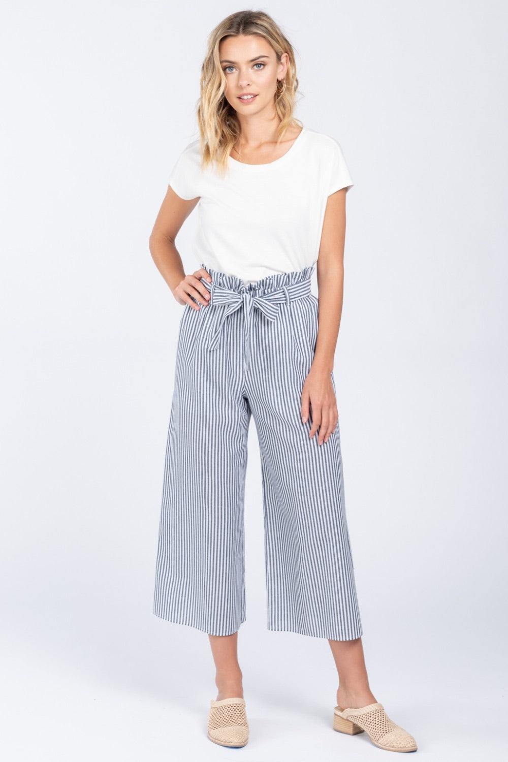Front Tie Stripe Wide Leg Pants