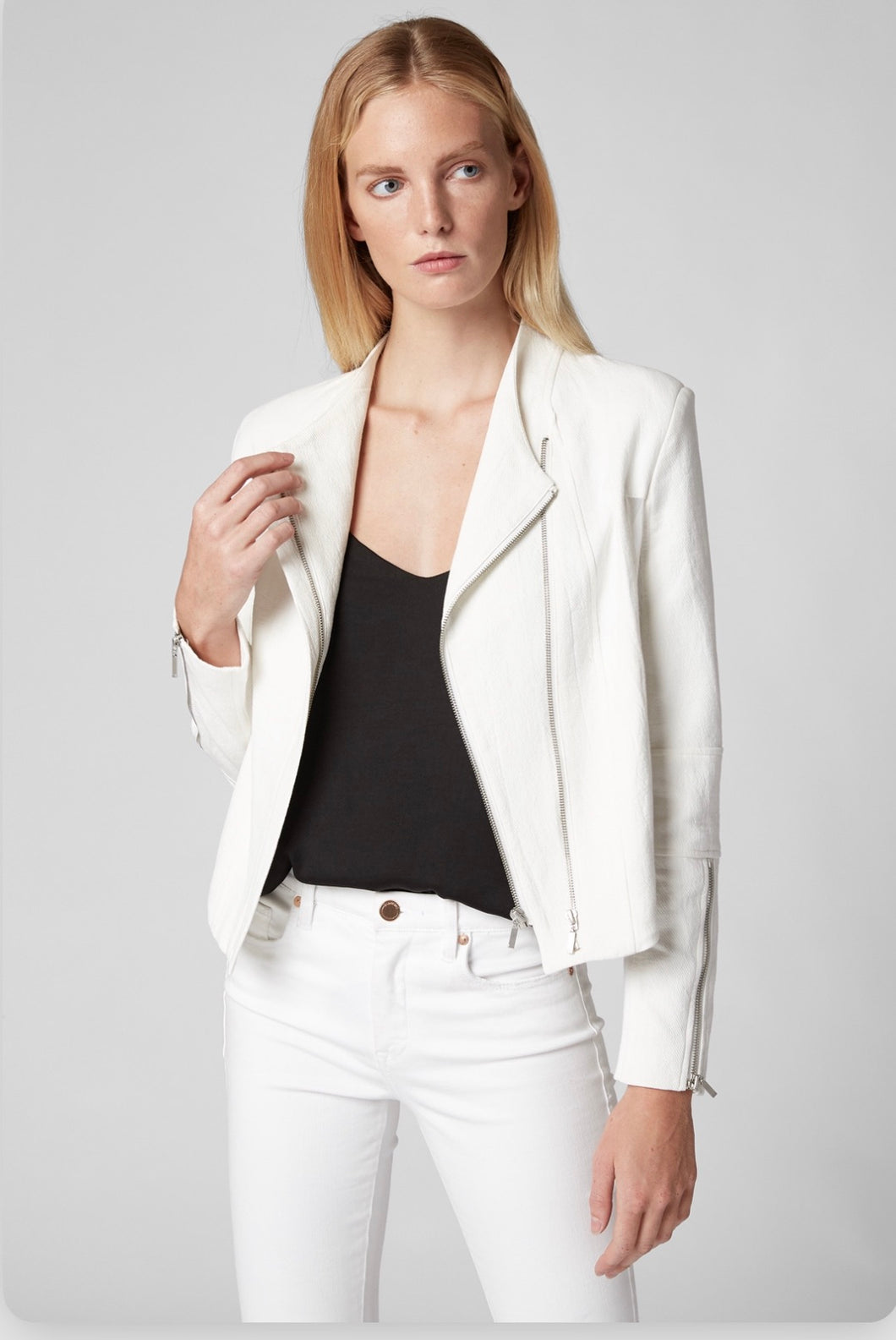 Crop Front Double Zip Jacket