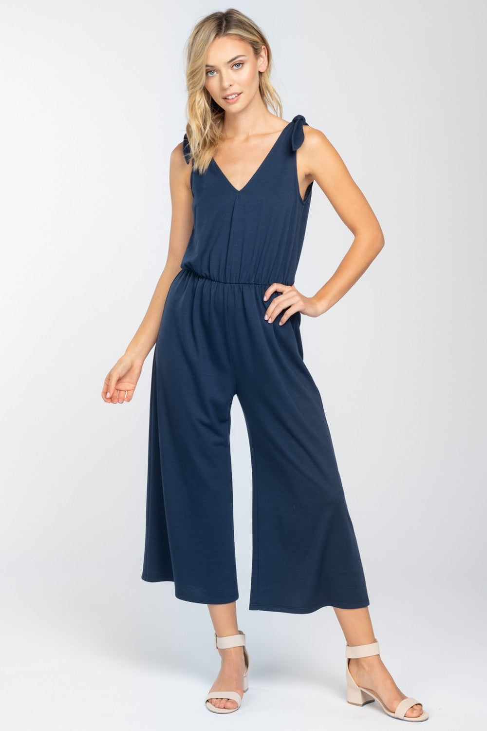 Shoulder Tie Knit Jumpsuit