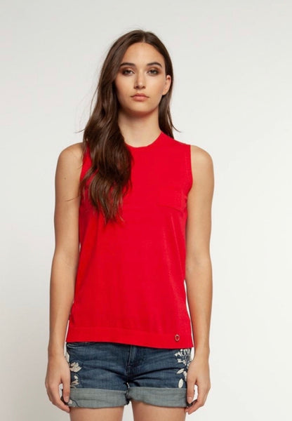 Sleeveless Button Back Blouse