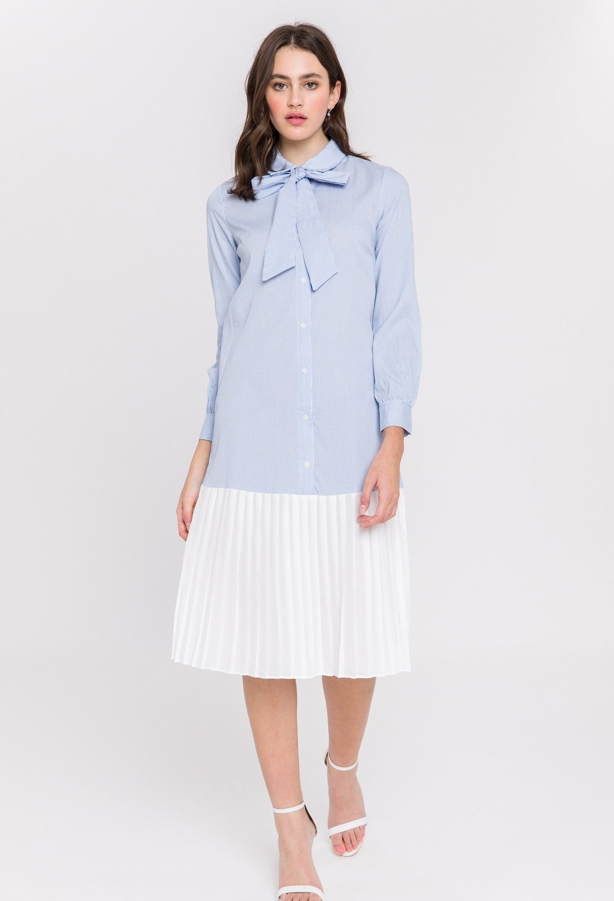 Pleated Combo Shirt Dress