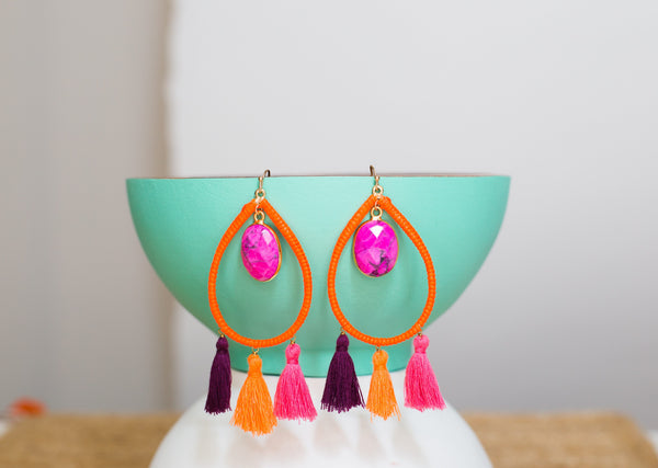 Pink Stone Tassel Teardrop Earrings