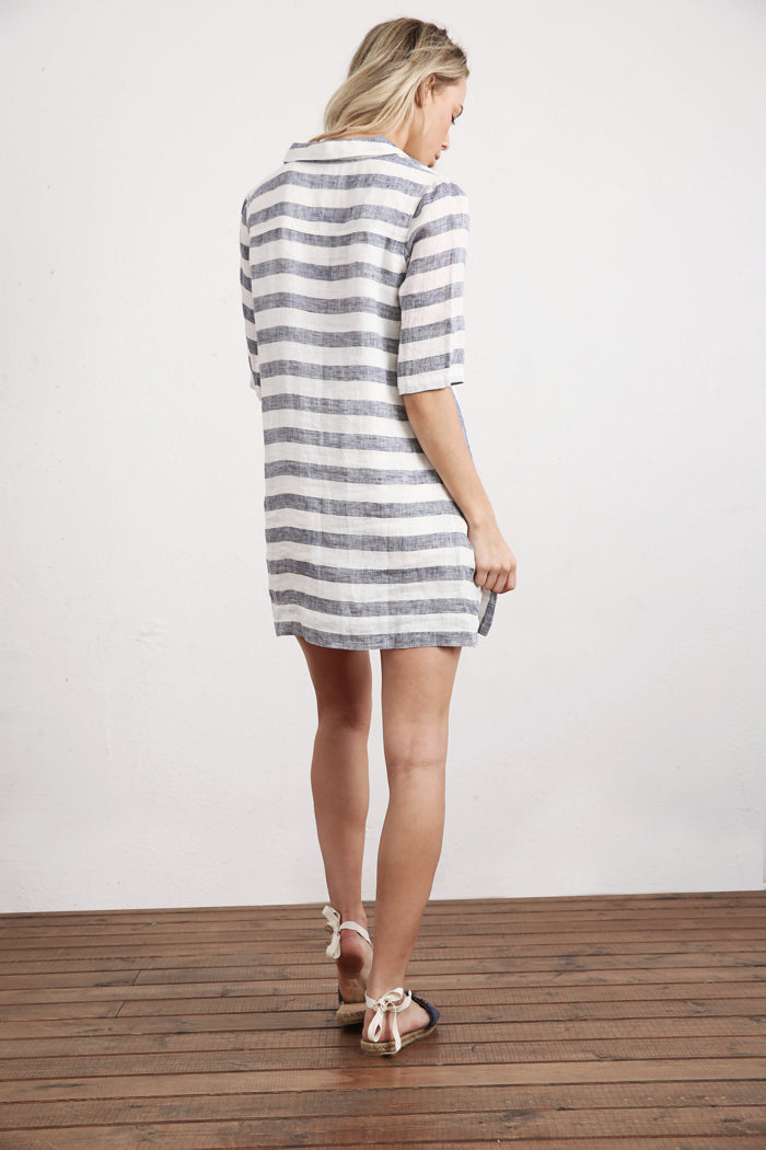 Striped Elbow Sleeve Tunic
