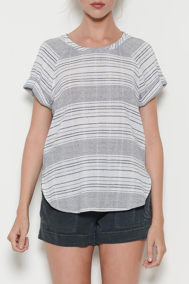 Navy Stripe S/S Top