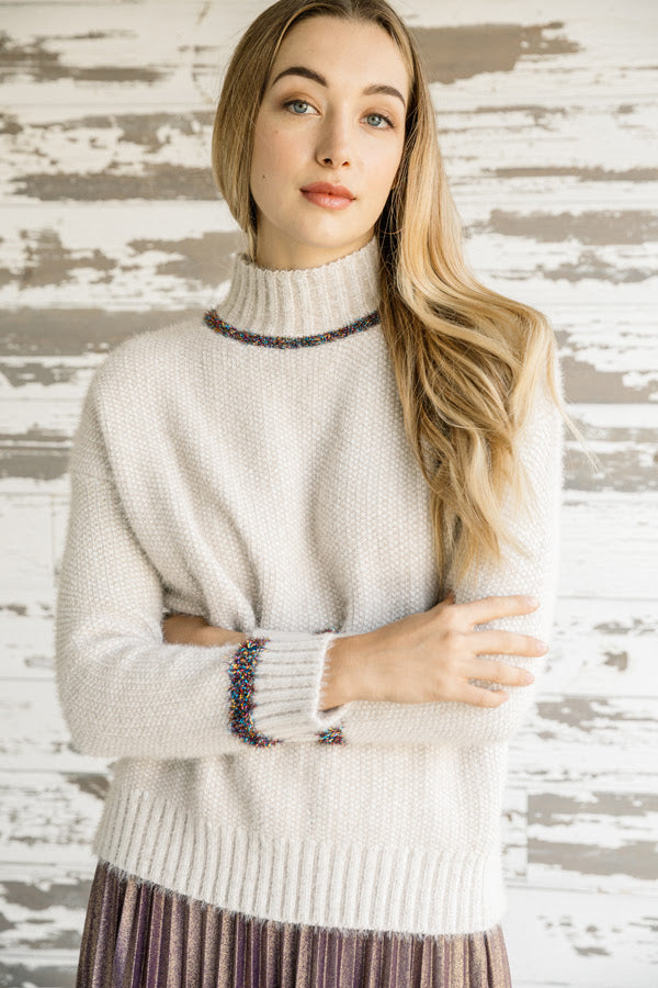 Metallic Contrast Mock Neck Sweater