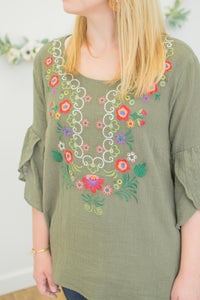 Tulip Sleeve Olive Embroidered Tunic
