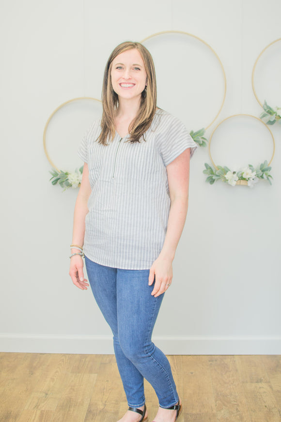 Striped Zippered Tunic (nursing friendly!)