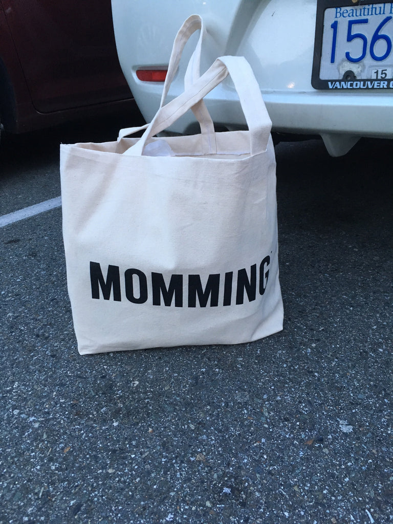 MOMMING Cream Canvas Bag (with black text)
