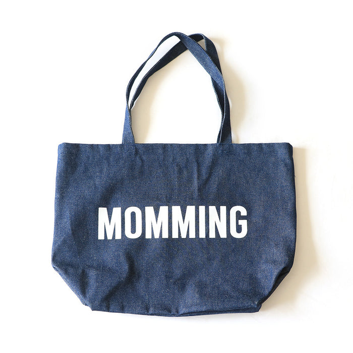 MOMMING Denim Bag (with white text)