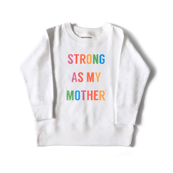 Strong As My Mother Youth Crewneck Sweatshirt White - Rainbow