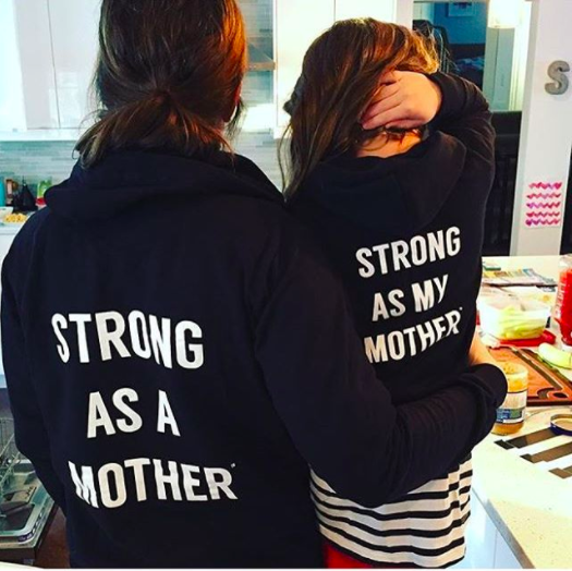 Toddler Zip-Up Hoodie - Strong as my Mother - Black / White Text